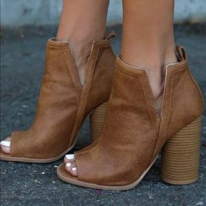 Brown, Leather peep-toed Boots.